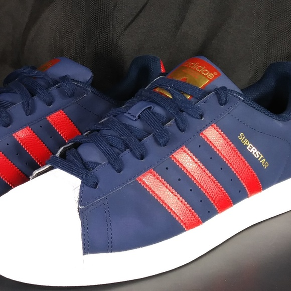 Adidas Shoes | Superstars Navyred Size